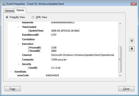 Microsot Windows Vista Event Viewer - Event Properties